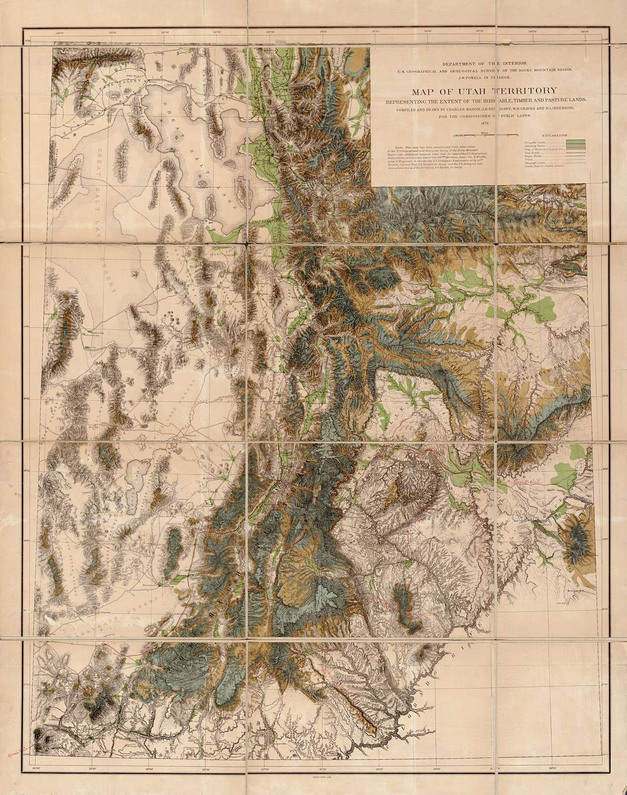 Map of Utah territory representing the extent of the irrigable, timber and pasture lands /