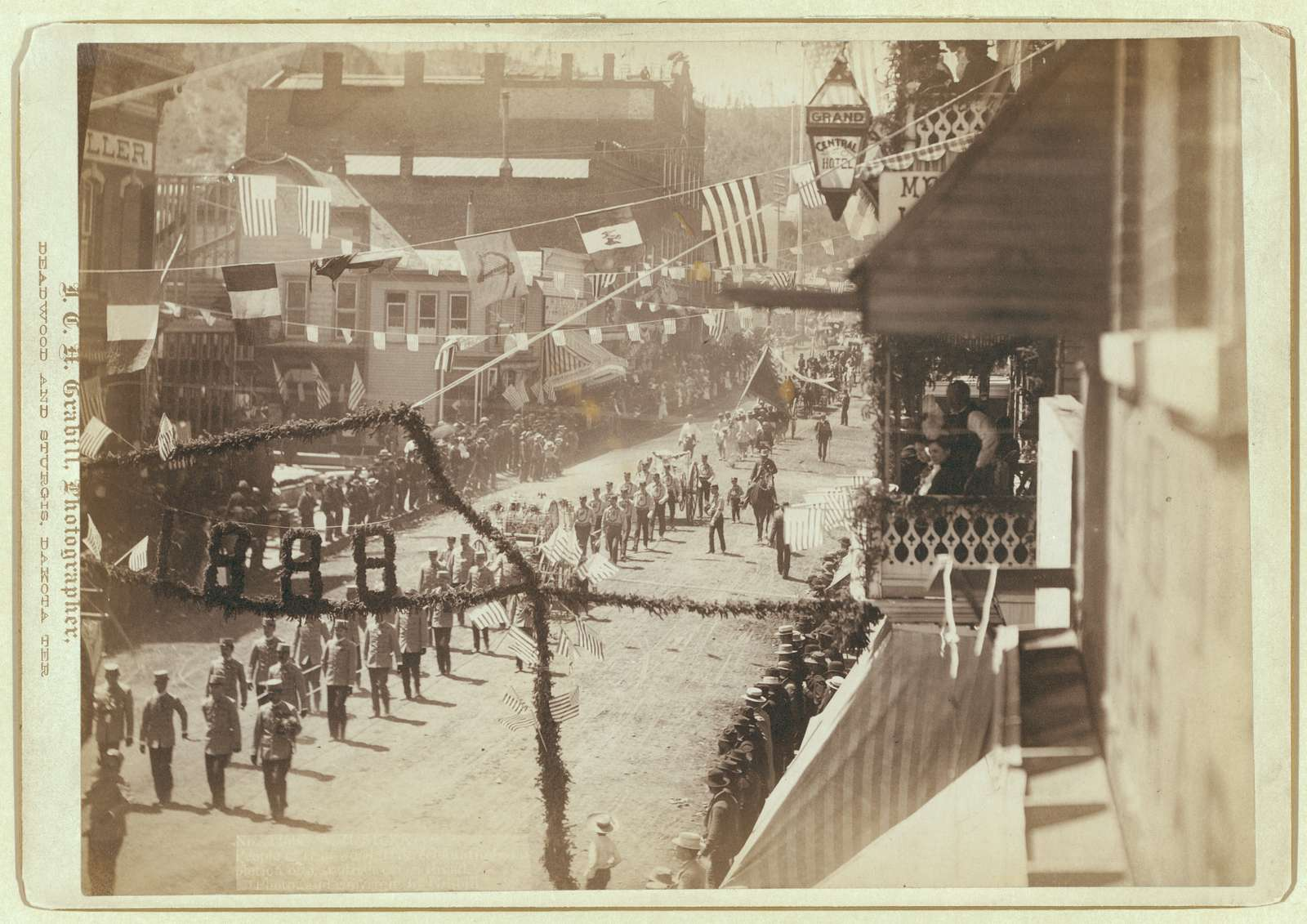 People of Deadwood celebrating completion of a stretch of railroad