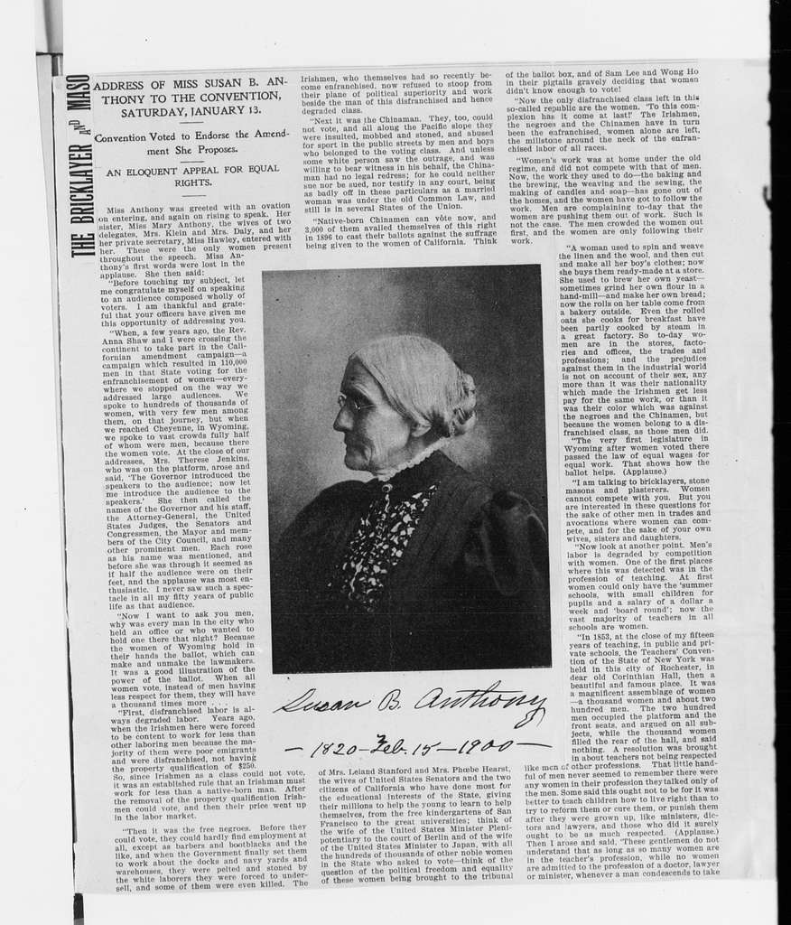 Susan B. Anthony Papers: Scrapbooks, 1876-1934; 1892-1902