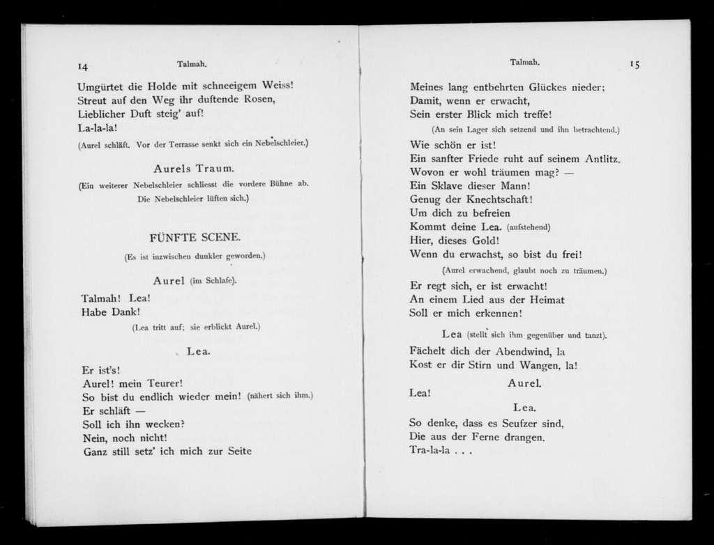 Talmah. Libretto. German
