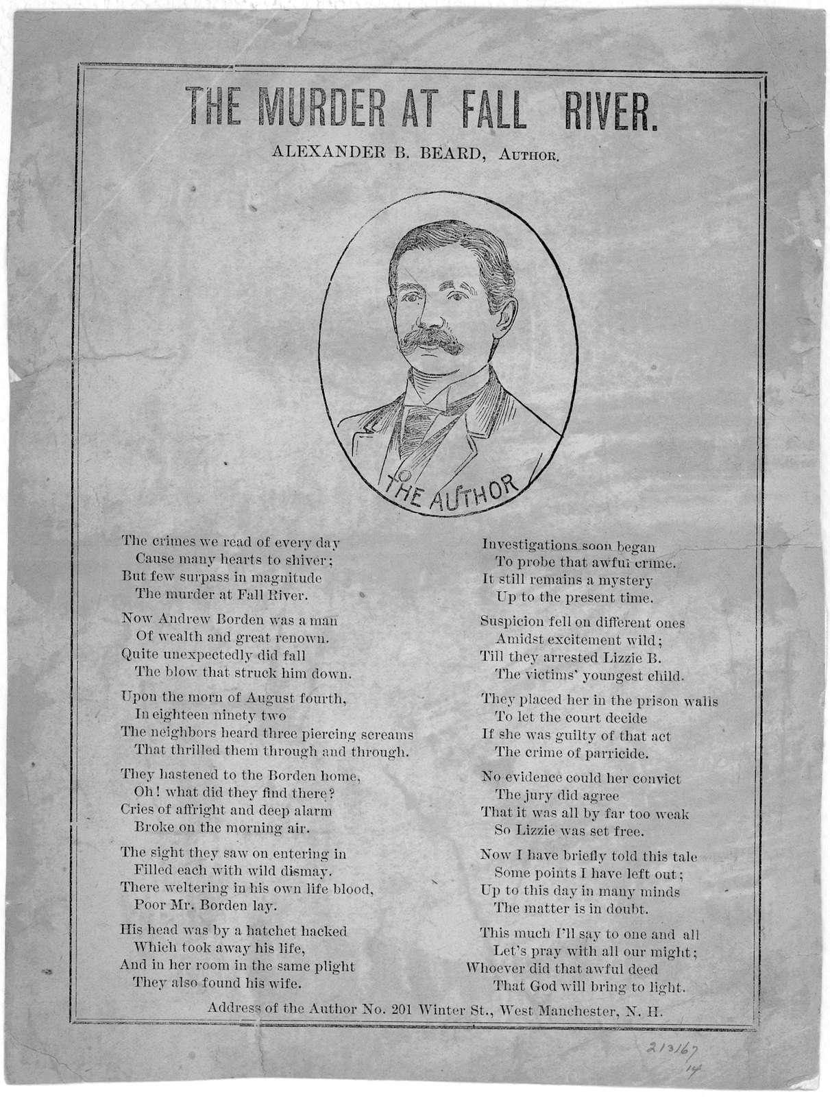The murder at Fall River. Alexander B. Beard, author. West Manchester. N. H. [18--?].