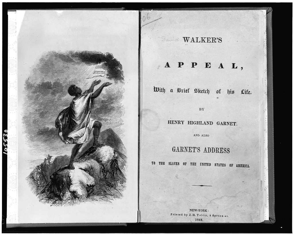 """[Title page and frontispiece showing slave on top of mountain, with his hands raised to paper labelled """"libertas justitia"""" which appears in sky] / Childs."""