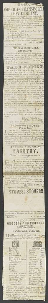 William Henry Harrison Papers: Series 4, Printed Matter, 1815-1922; Subseries C, Newspaper Clippings and Other Printed Matter, 1818-1922; Printed matter; Newspaper clippings, 1840-1922, undated