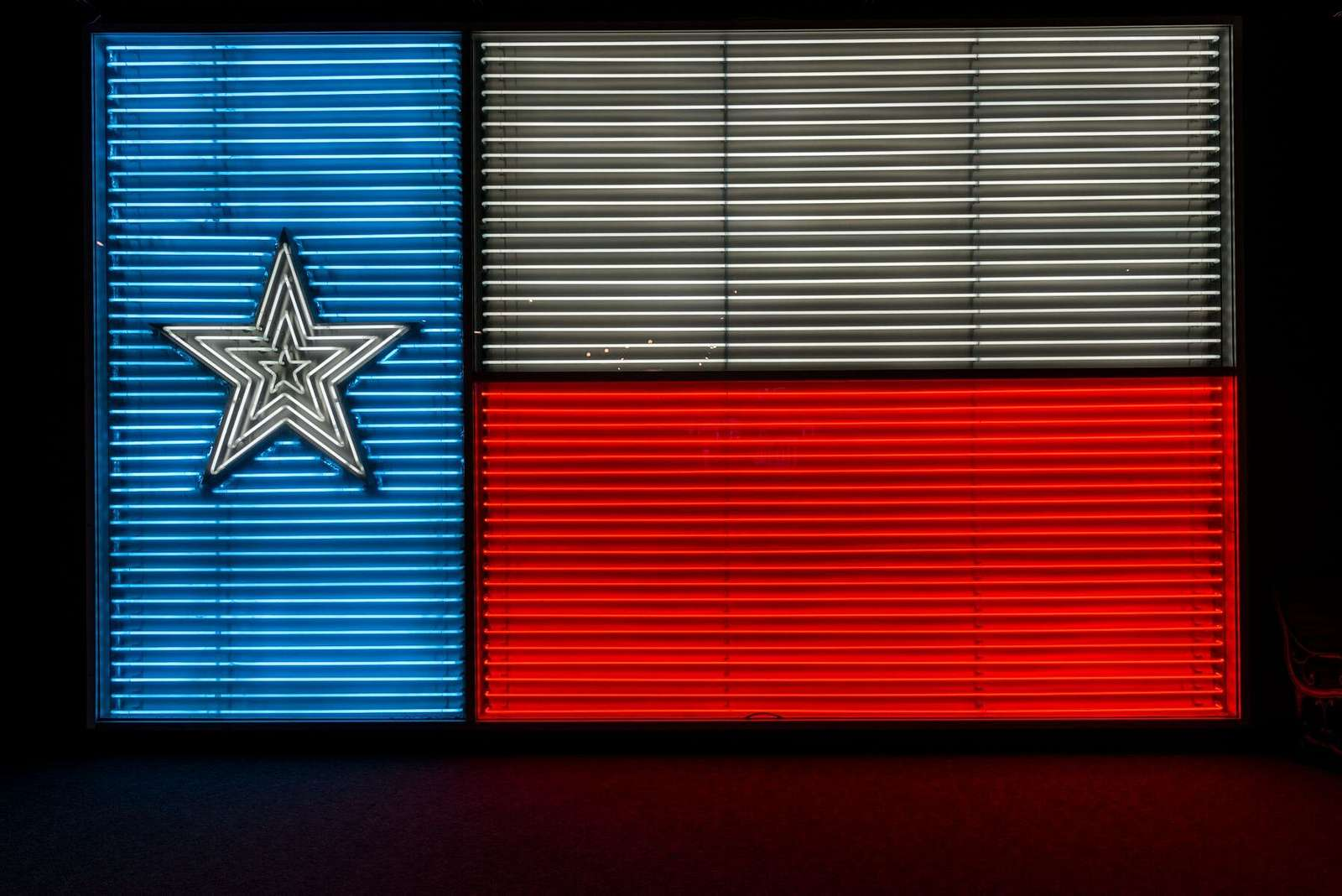 """A neon version of the Texas """"Lone Star"""" state flag at the Institute of Texan Cultures, part of the University of Texas at San Antonio"""