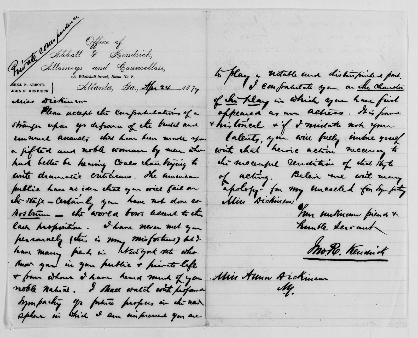"""Anna E. Dickinson Papers: General Correspondence, 1859-1911; """"K"""" miscellaneous, 1863-1910, undated"""