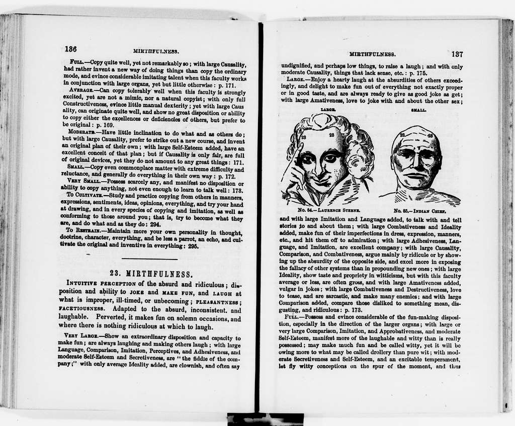 Clara Barton Papers: Miscellany, 1856-1957; Phrenology, 1865, undated
