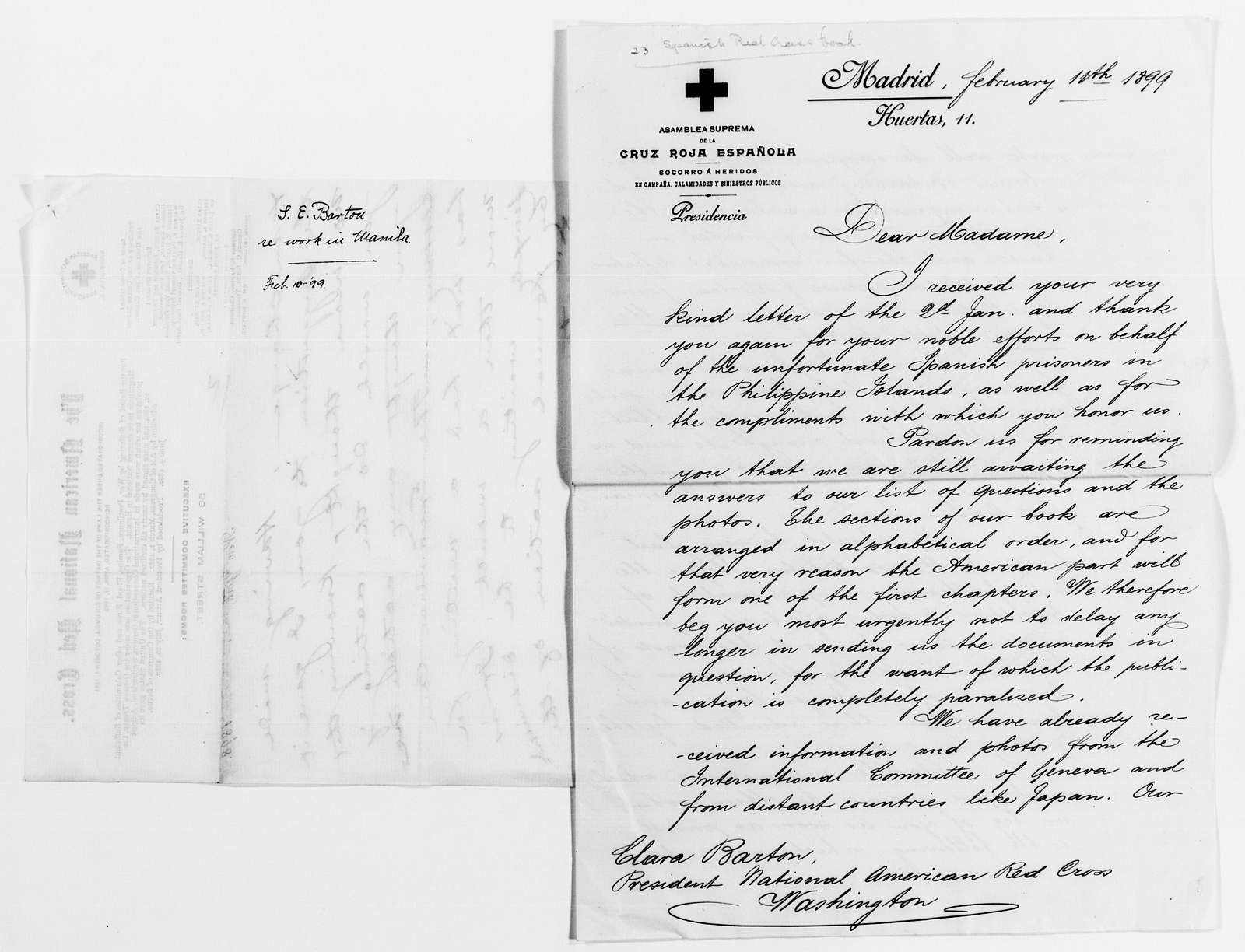 Clara Barton Papers: Red Cross File, 1863-1957; American National Red Cross, 1878-1957; Relief operations; Spanish-American War; Correspondence; General; 1899, Jan.-Feb.