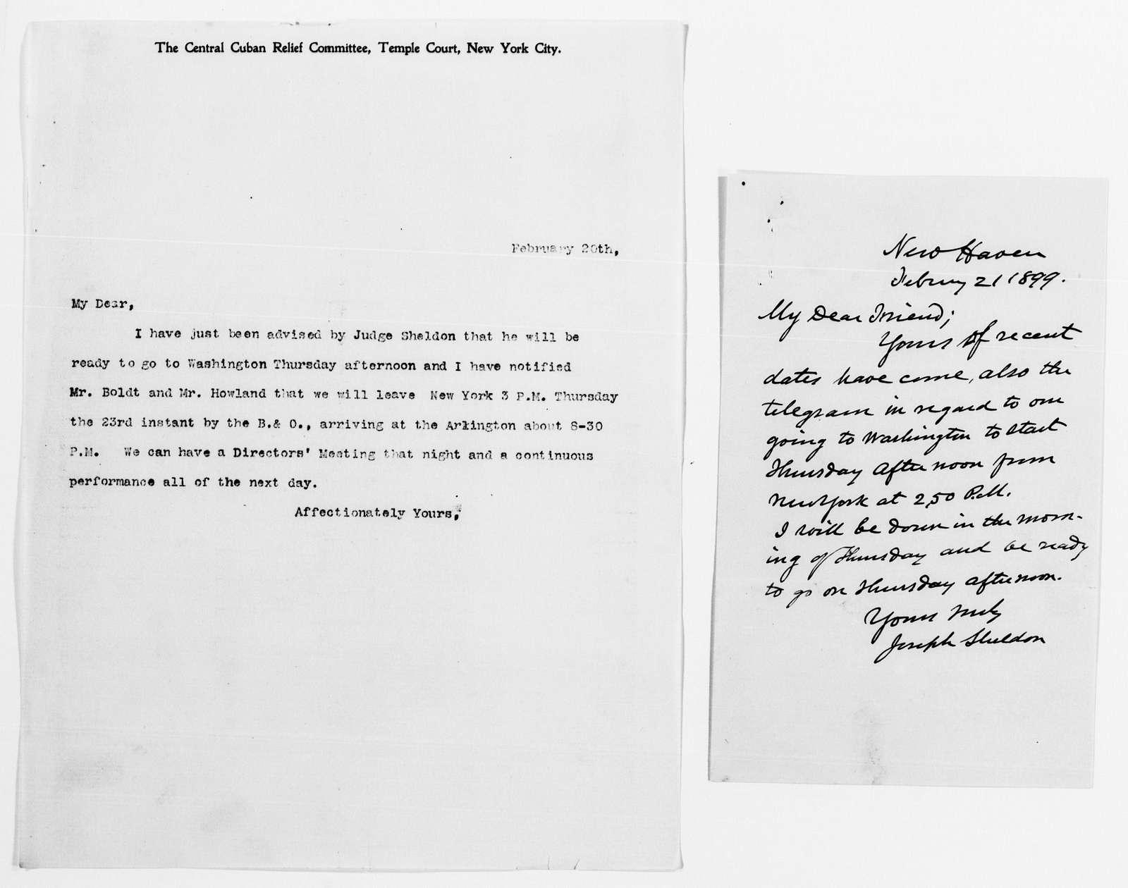 Clara Barton Papers: Red Cross File, 1863-1957; American National Red Cross, 1878-1957; Relief operations; Spanish-American War; Correspondence; General; 1899, Jan.-Feb.