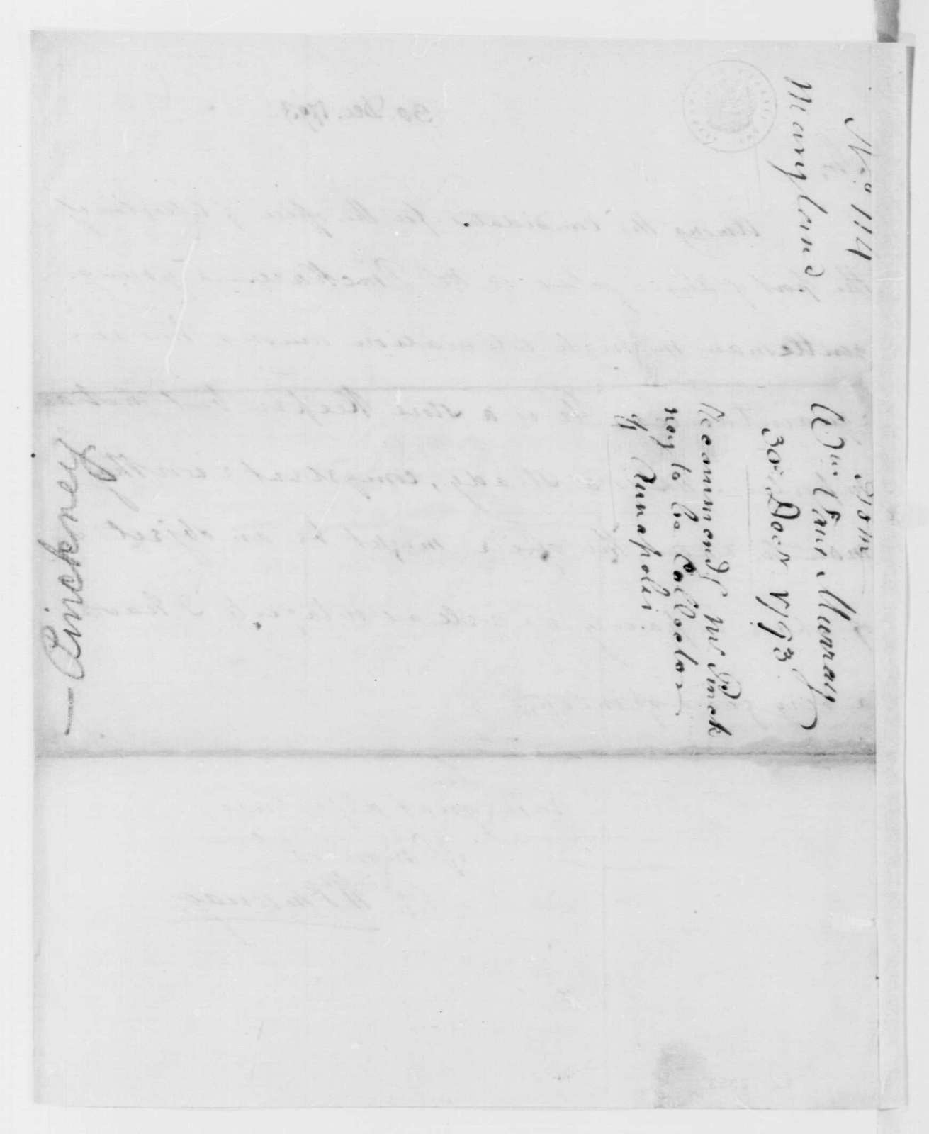 George Washington Papers, Series 7, Applications for Office, 1789-1796: Pinckney