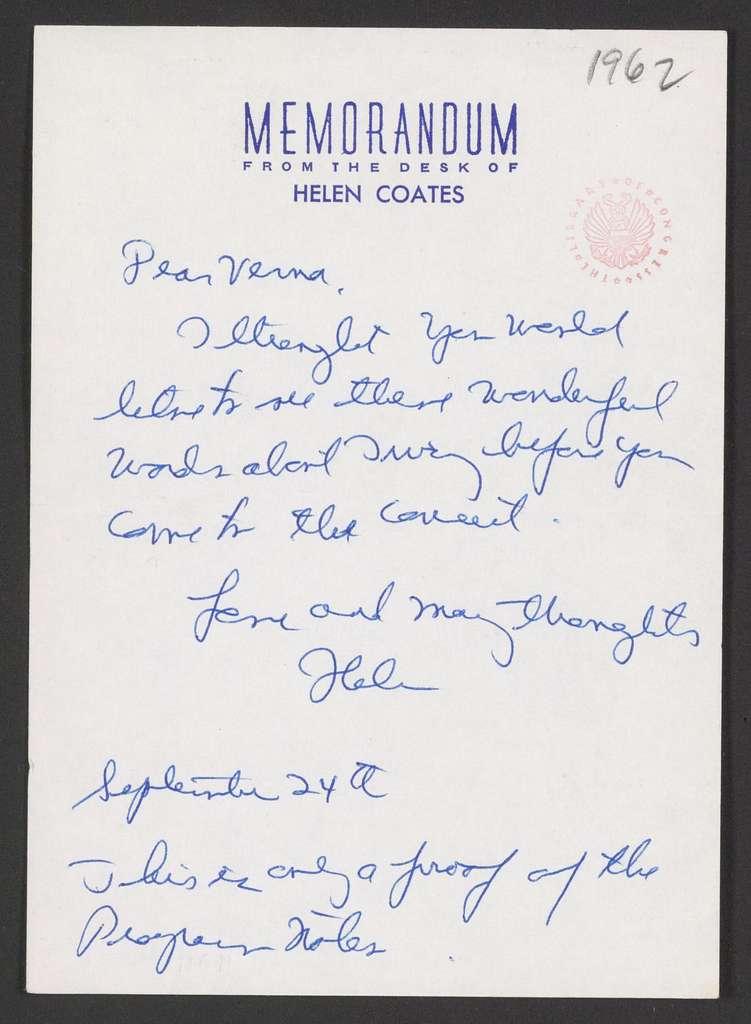 Helen Coates to Verna Fine, September 24, 1962