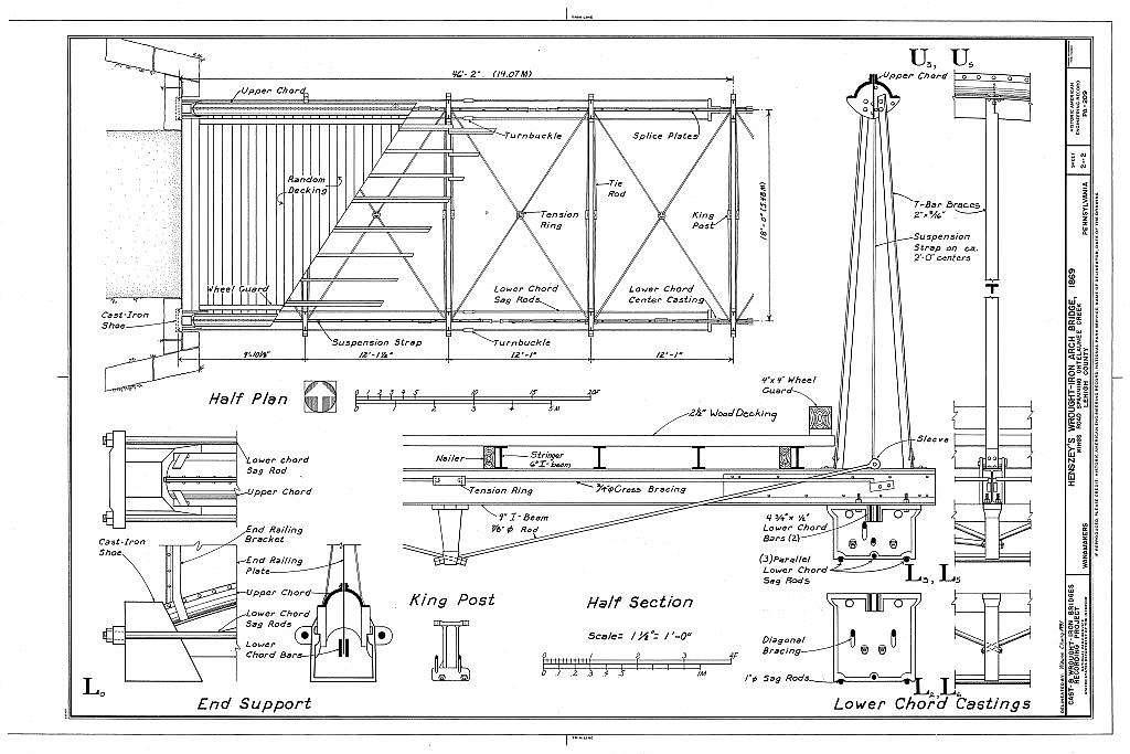 Henszey's Wrought-Iron Arch Bridge, Spanning Ontelaunee Creek at Kings Road, Wanamakers, Lehigh County, PA