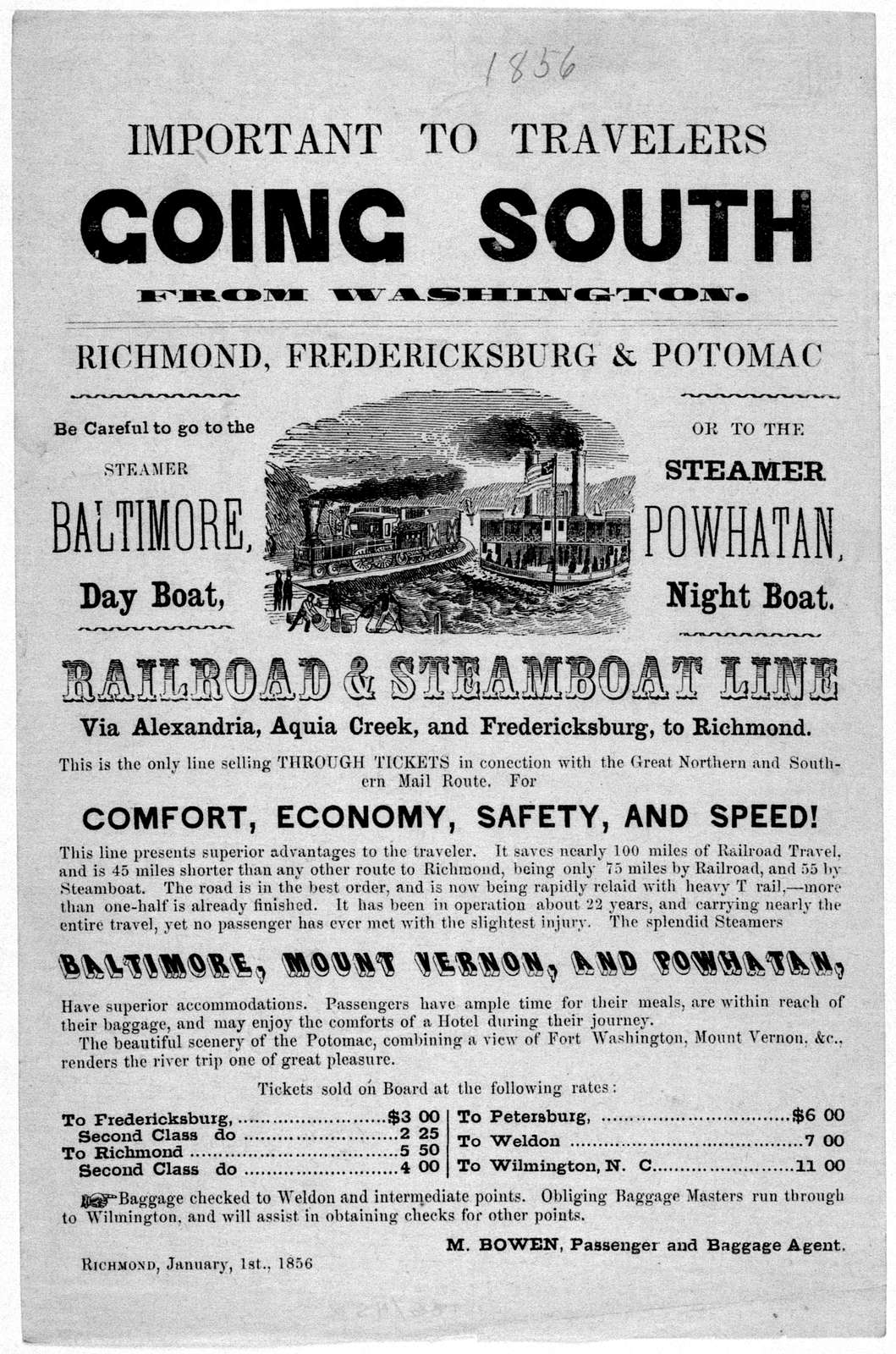 Important to travelers going South from Washington. Richmond, Fredericksburg & Potomac. ... Railroad & steamboat line via Alexandria Aquia Creek and Fredericksburg to Richmond ... Richmond, January 1st, 1856.