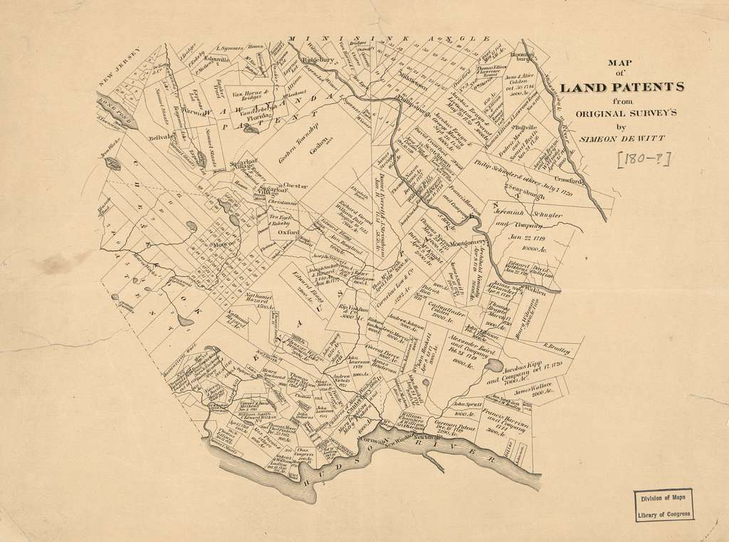 Map of land patents from original surveys : [Newburgh city region, New York State] /
