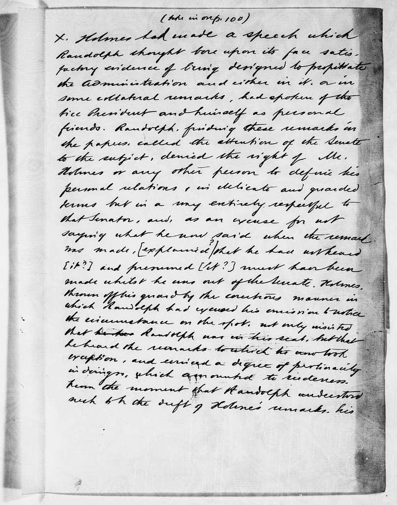 Martin Van Buren Papers: Series 1, Autobiography, 1854-1862; Holograph transcript; Autobiography; Vol. 2; pp. 1-106