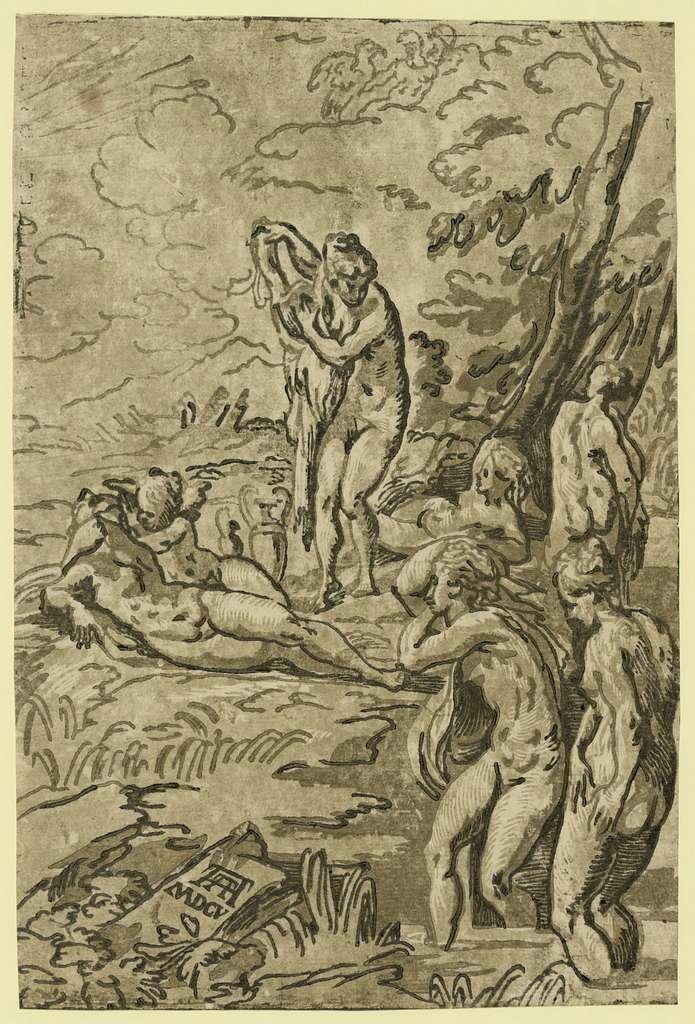 Nymphs bathing / AA [monogram of Andrea Andreani] 1605.