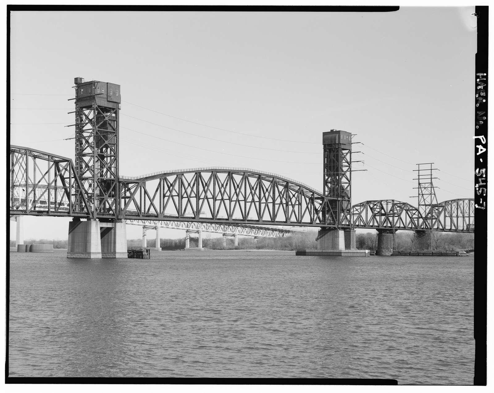 Pennsylvania & New Jersey Railroad, Delaware River Bridge, Spanning Delaware River, south of Betsy Ross Bridge (State Route 90), Philadelphia, Philadelphia County, PA