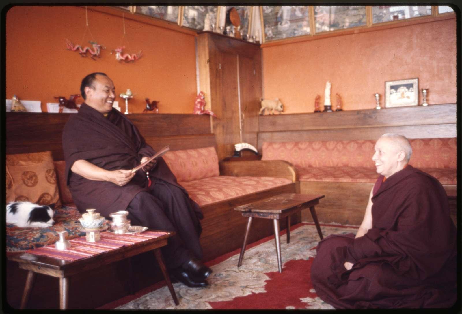 [Rangjung Rigpe Dorje, the 16th Karmapa Lama, seated, with a monk, at Rumtek Monastery, Sikkim]