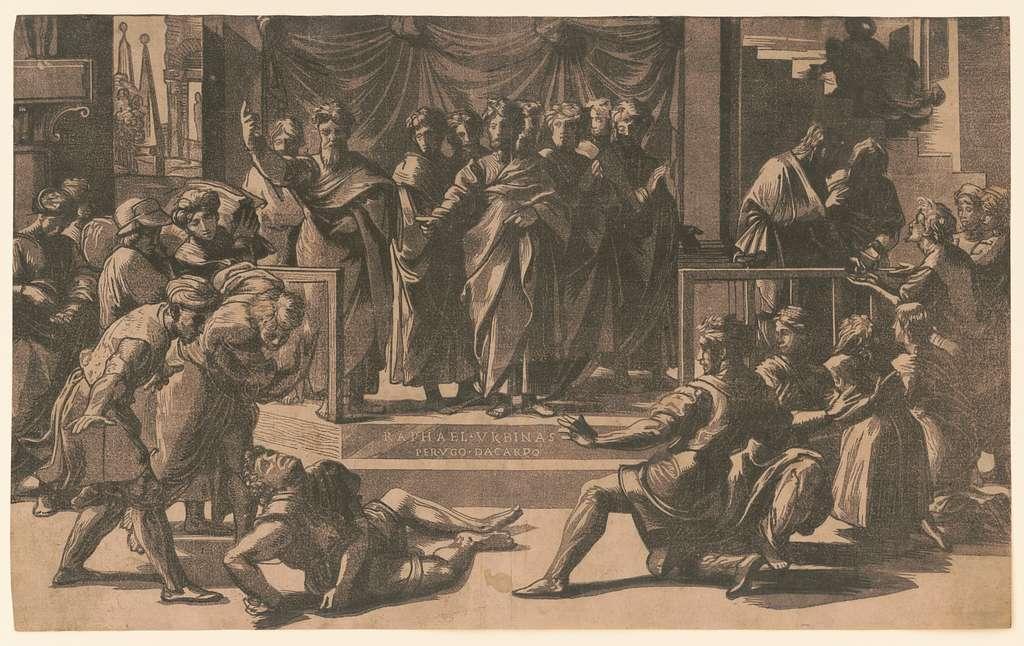 The death of Ananias / Raphael Urbinas, perugo da carpo.