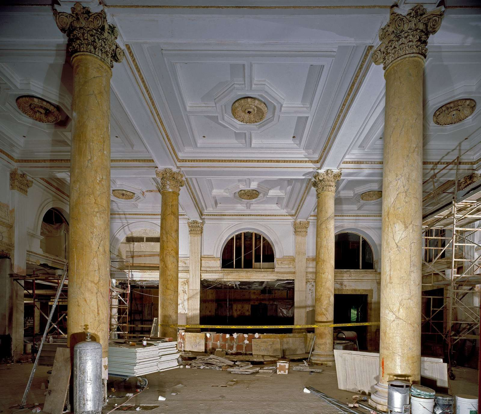 Willard Hotel lobby during a wholesale renovation in the 1980s. Washington, D.C.