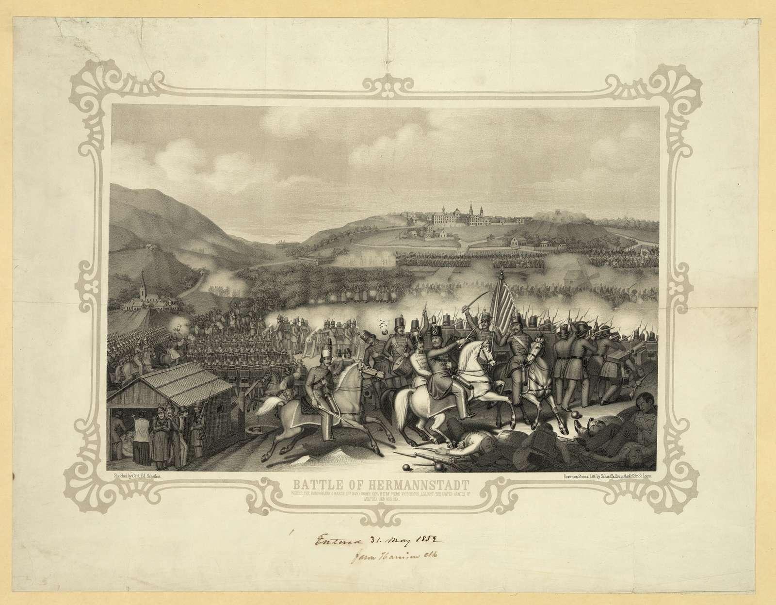 Battle of Hermannstadt / sketched by Capt. Ed. Scheifele ; drawn on stone & lith by Schaerff & Bro. 71 Market Str. St. Louis.