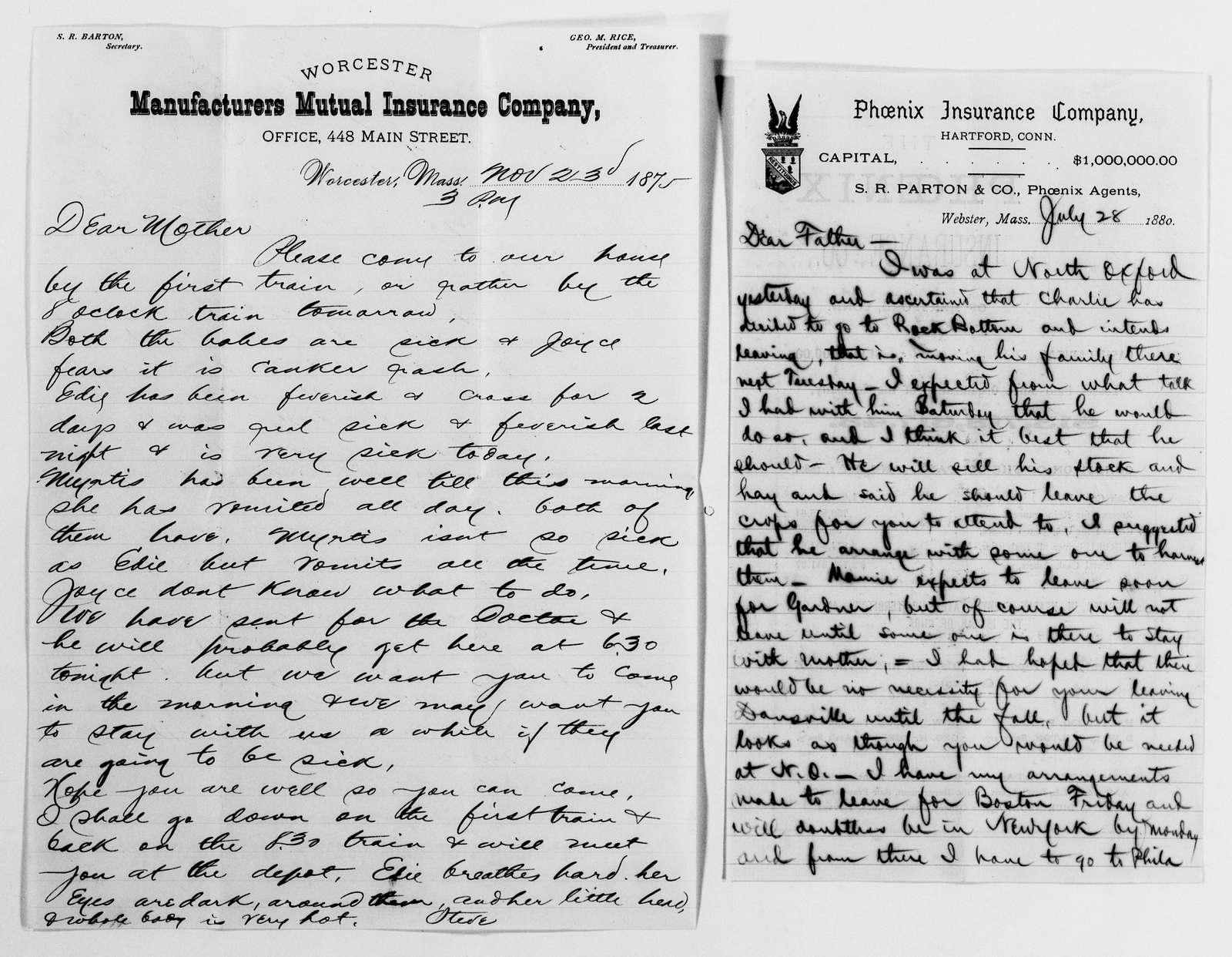 Clara Barton Papers: Family Papers: Barton, David and Julia Porter (brother), 1850-1883