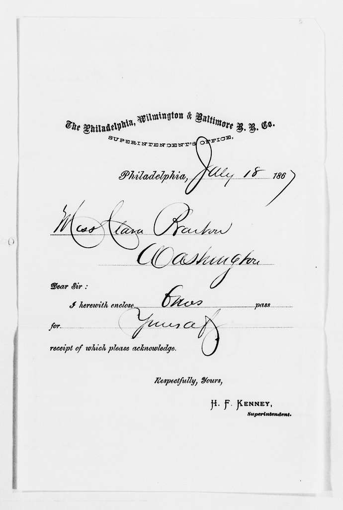 Clara Barton Papers: Subject File, 1861-1952; Civil War; Office of Correspondence with the Friends of the Missing Men of the U.S. Army; Railroad passes, 1865-1867