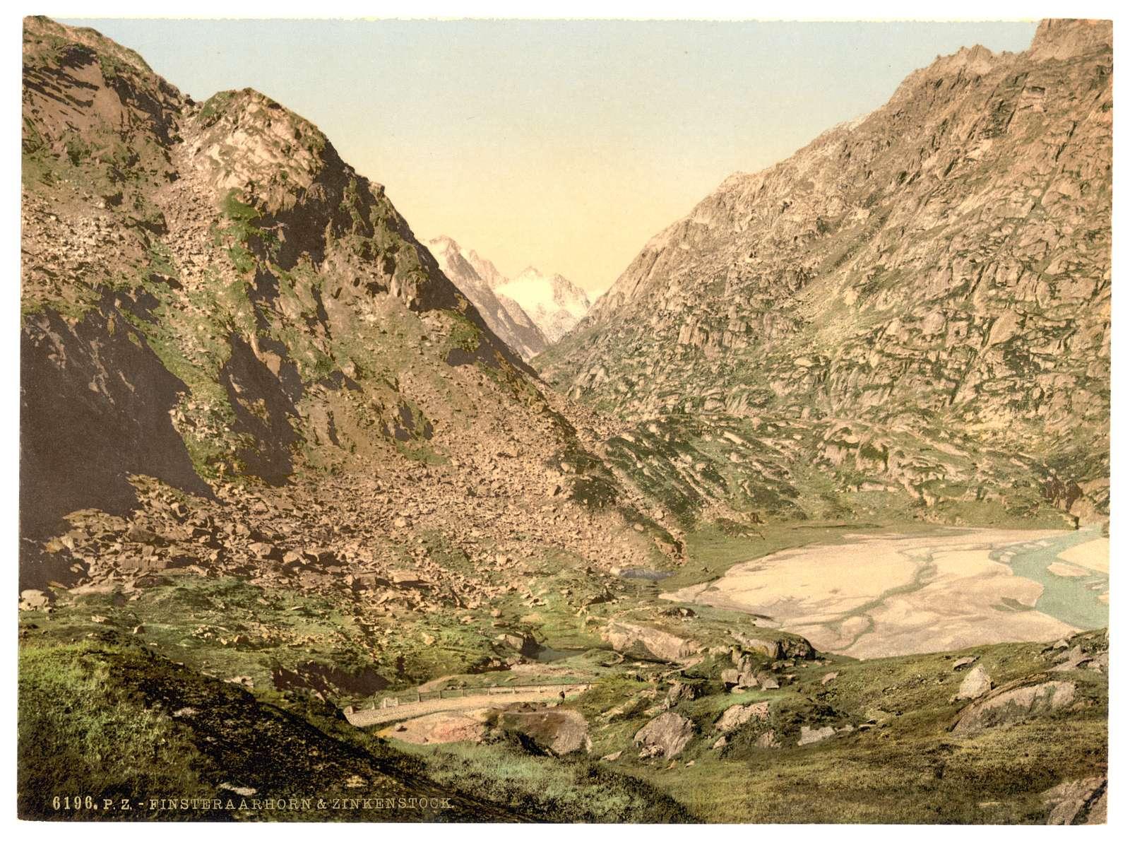 [Grimselstrasse, view on Finsteraarhorn and Zinkenstock, Bernese Oberland, Switzerland]