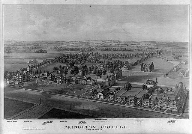 Princeton College, Princeton, N.J. / designed by W.M. Radcliff ; lith. by Thos. Hunter, 716 Filbert St., Philada.