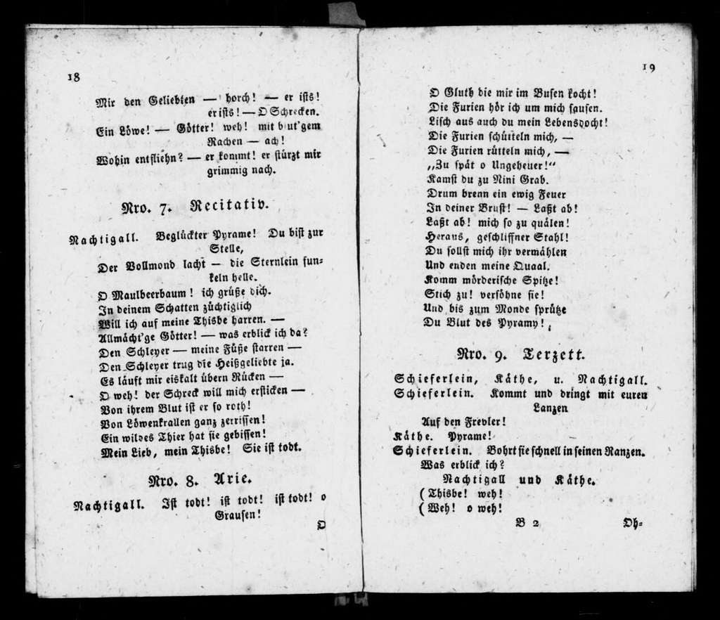Pyramus und Thisbe. Libretto. German