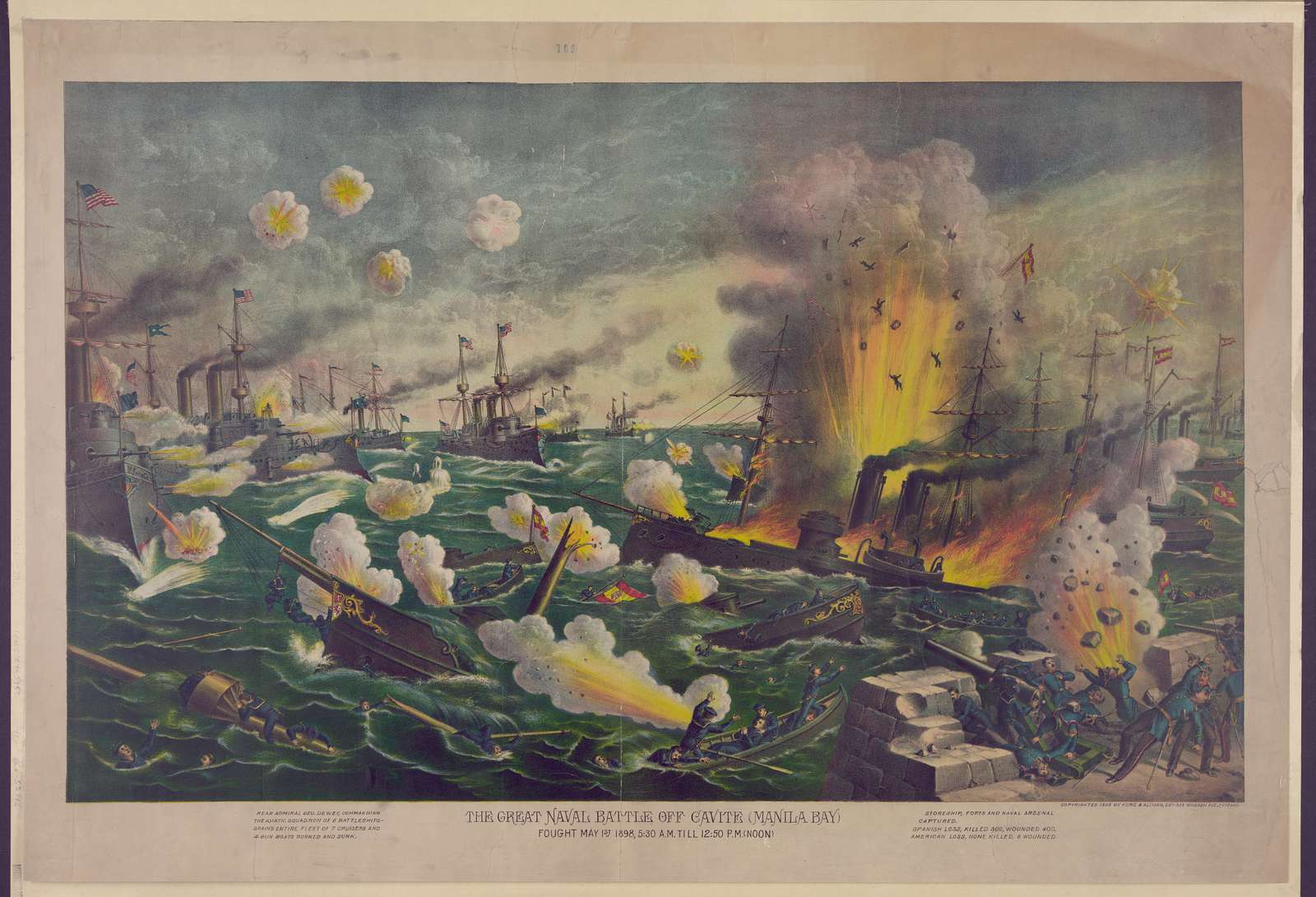 The great naval battle off Cavite (Manila Bay), fought May 1st, 1898, 5:30 A.M. till 12:50 P.M. (noon)