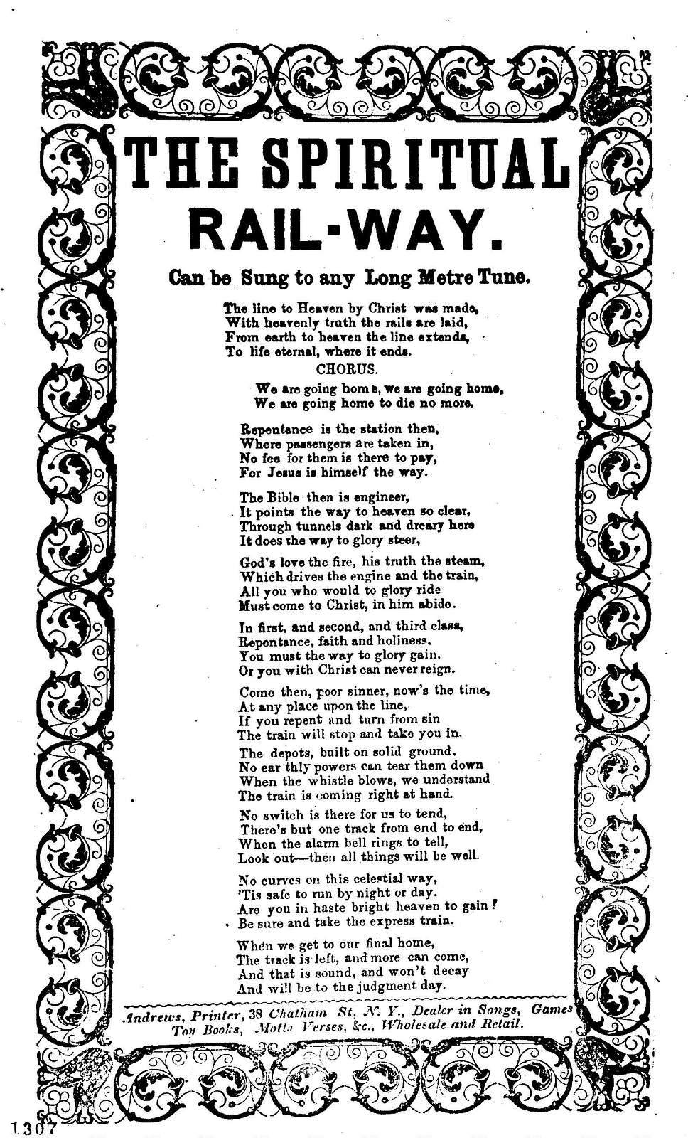 The spiritual rail-way. Can be sung to any long metre tune. Andrews, Printer, 38 Chatham Street, N. Y