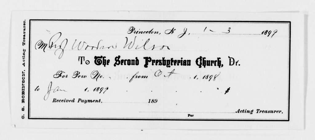 Woodrow Wilson Papers: Series 8: Financial Material, 1864-1944; Subseries F: Bills and Receipts, 1882-1924; Bills and Receipts; 1897, Nov. 4-1921, Mar