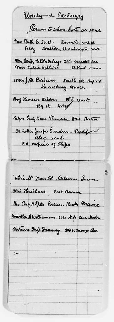 Clara Barton Papers: Miscellany, 1856-1957; Register of letters and documents; 1902-1911