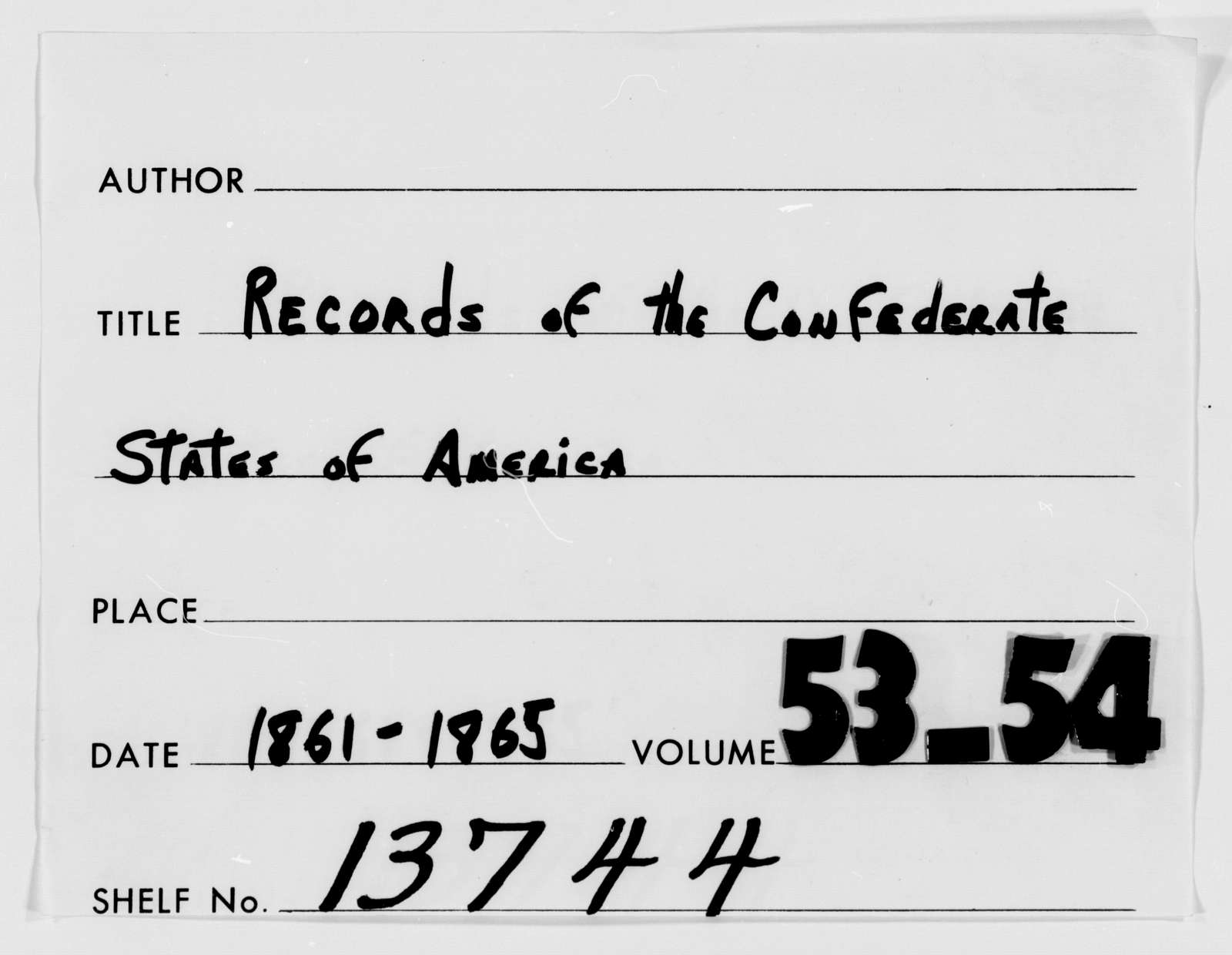 Confederate States of America records: Microfilm Reel 29