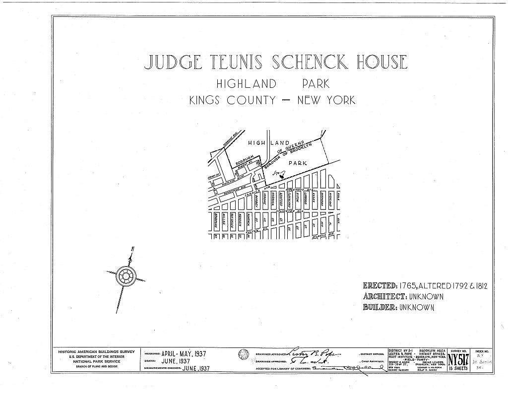 Judge Teunis Schenck House, Highland Park, Jamaica Avenue, Brooklyn, Kings County, NY