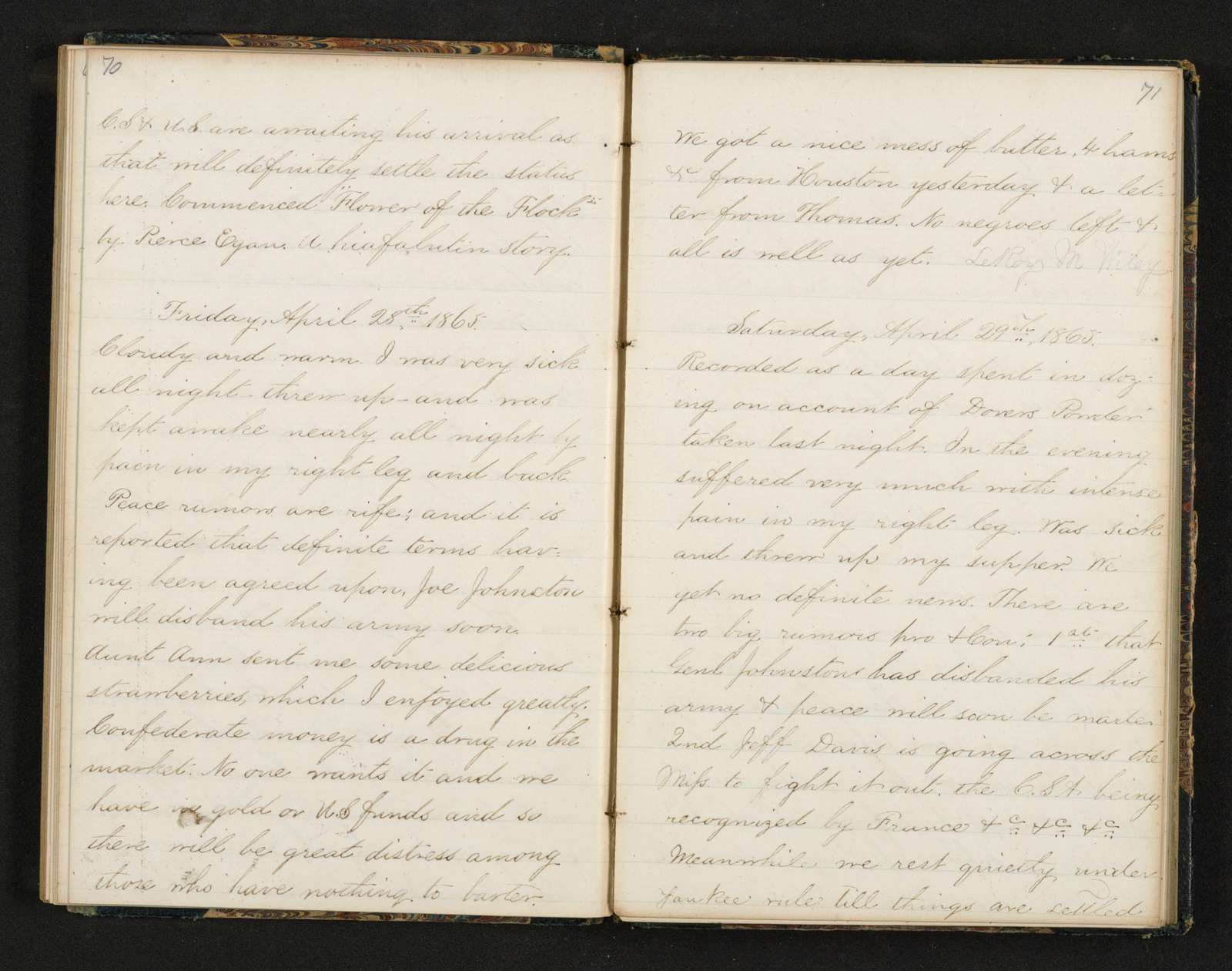 Lewis H. Machen Family Papers: Diaries and Diary Transcriptions, 1860-1865; Diaries; Gresham, LeRoy Wiley; 1865, 1 Jan.-9 June