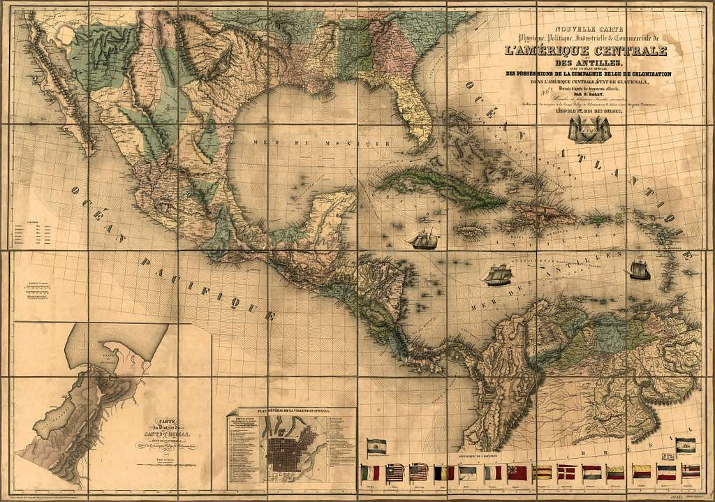 Nouvelle carte physique, politique, industrielle & commericale de l'Amerique Centrale et des Antilles : avec un plan spécial des possessions de la Compagnie belge de colonisation dans l'Amerique Centrale, état de Guatemala /