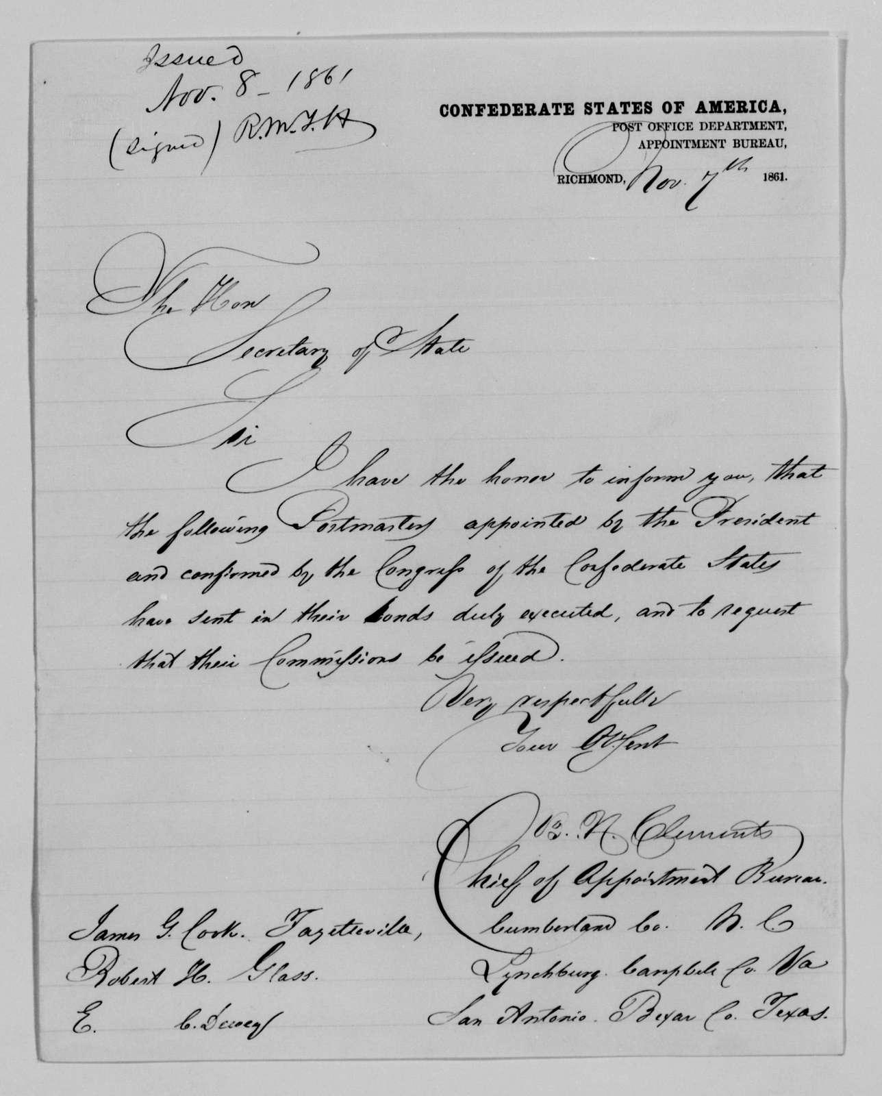 Confederate States of America records: Microfilm Reel 25