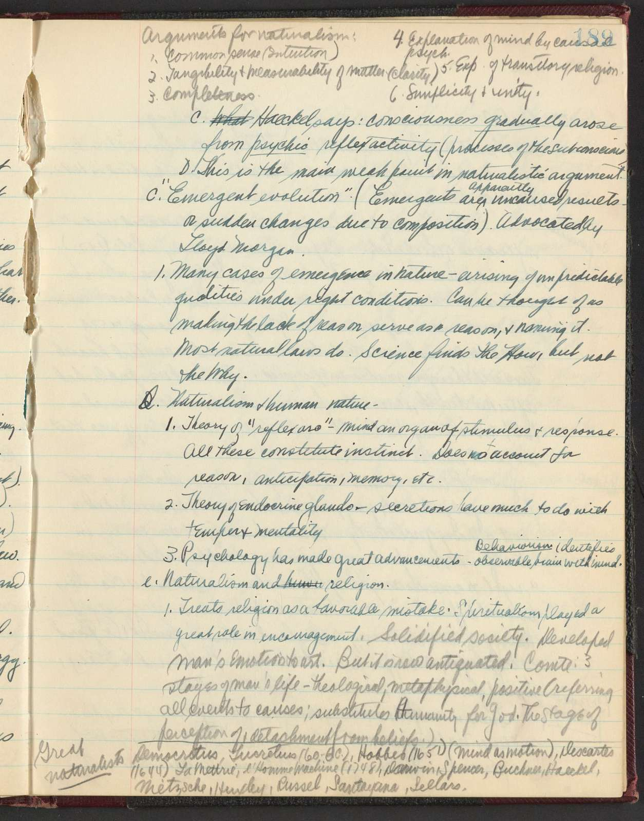 Harvard class notes: English, Philosophy, Music, Comparative Literature, 1938-39