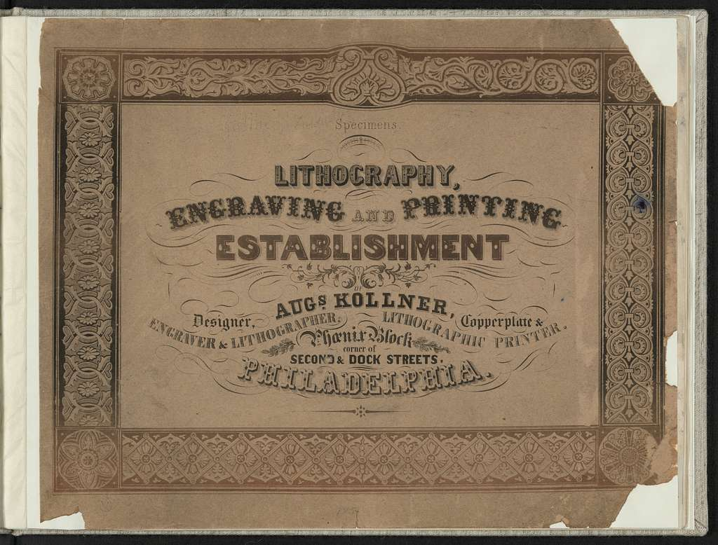 Lithography, engraving and printing establishment of Augs. Kollner designer, engraver & lithographer, copperplate & lithographic printer.
