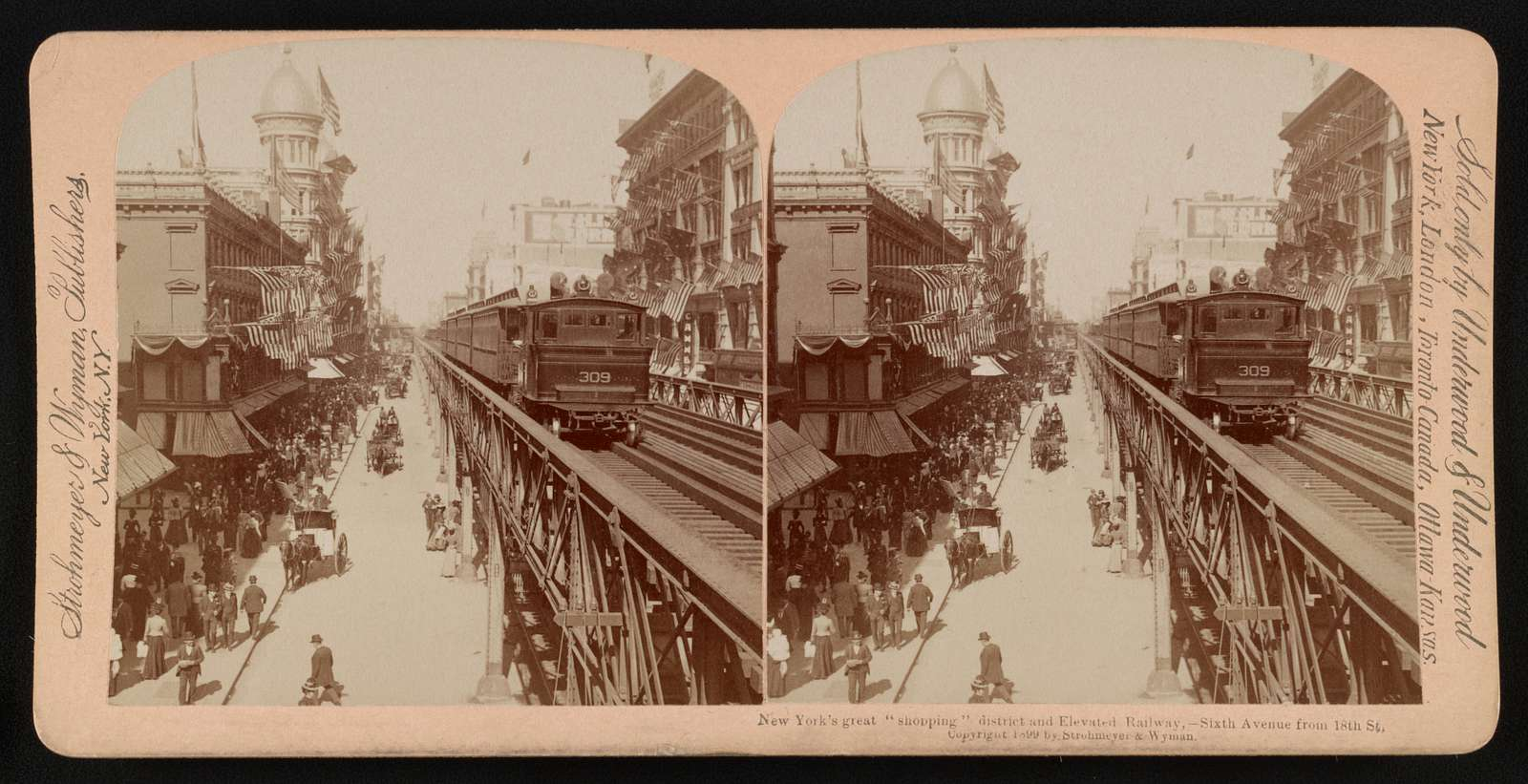 "New York's greatest ""shopping"" district and elevated railway--Sixth Avenue from 18th St."