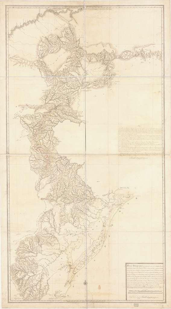 Plano topografico que comprende la costa del mar desde la ensenada de castillos hasta el Rio Grande de Sn. Pedro, el arroyo del Chuy, la Laguna de la Manguera y la de Merin, contodos los arroyos que desaguan en esta, el Piratini, las cabeceras del Rio Negro y las del Ycabacua, las vertientes que bajan de la Cuchilla general al Yacuy y al Uruguay, los establecimientos y misiones españolas del propio Uruguay, los establecimientos portugueses mas inmediatos a dichas misiones y el curso de una gran parte del Uruguay con la boca del rio a que los demarcadores pasados dieron el nombre de Pepiri, expresandose en el mismo plano los terrenos y a demarcados y los que estan endisputa entre los comisarios principales de los dos soberanos, por cuya orden se hizo este trabajo que empezo el año de 1784 y se concluyo en el de 1788 /