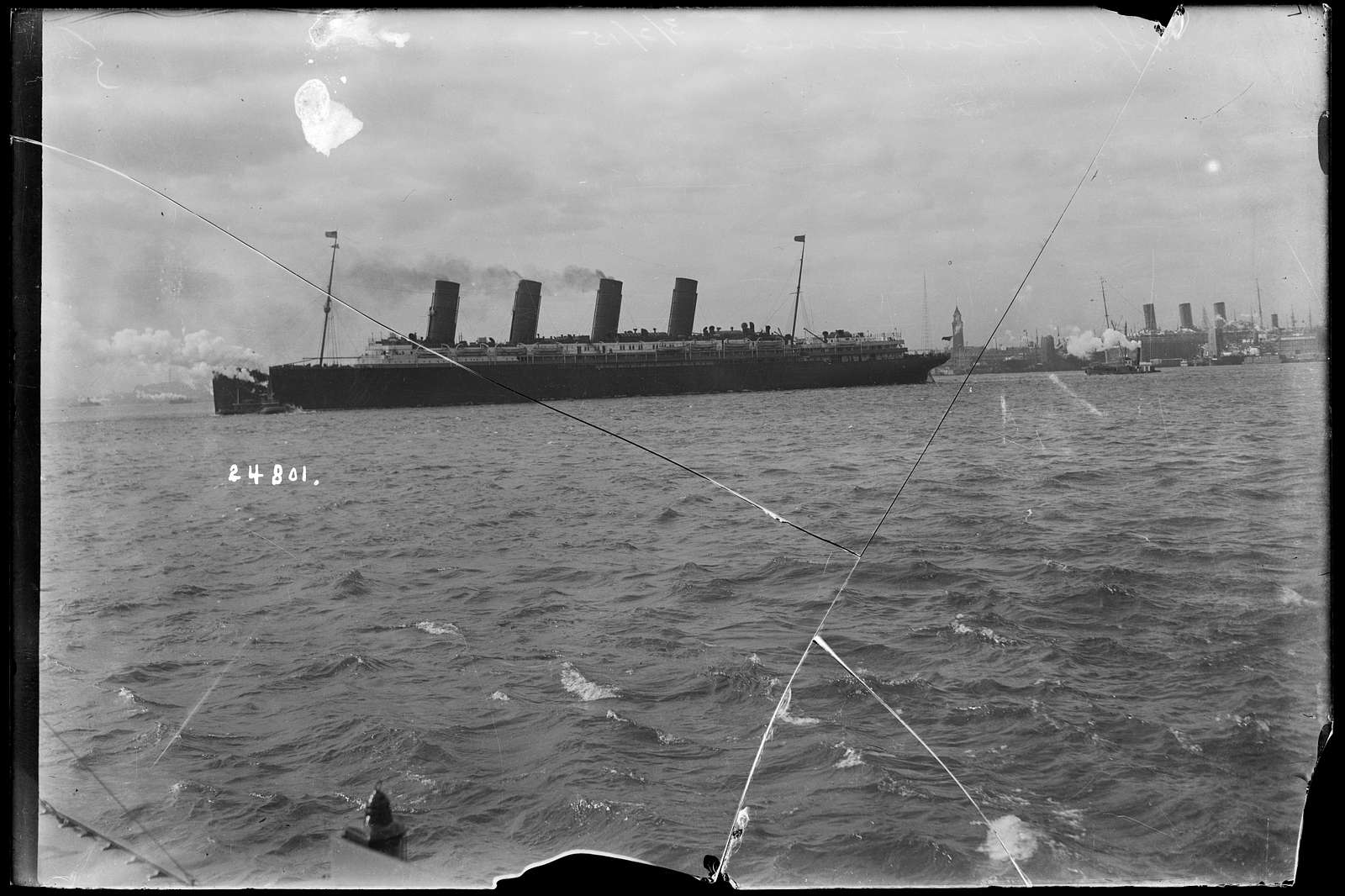 [RMS Lusitania of the Cunard Line, leaving New York Harbor in the winter of 1915]