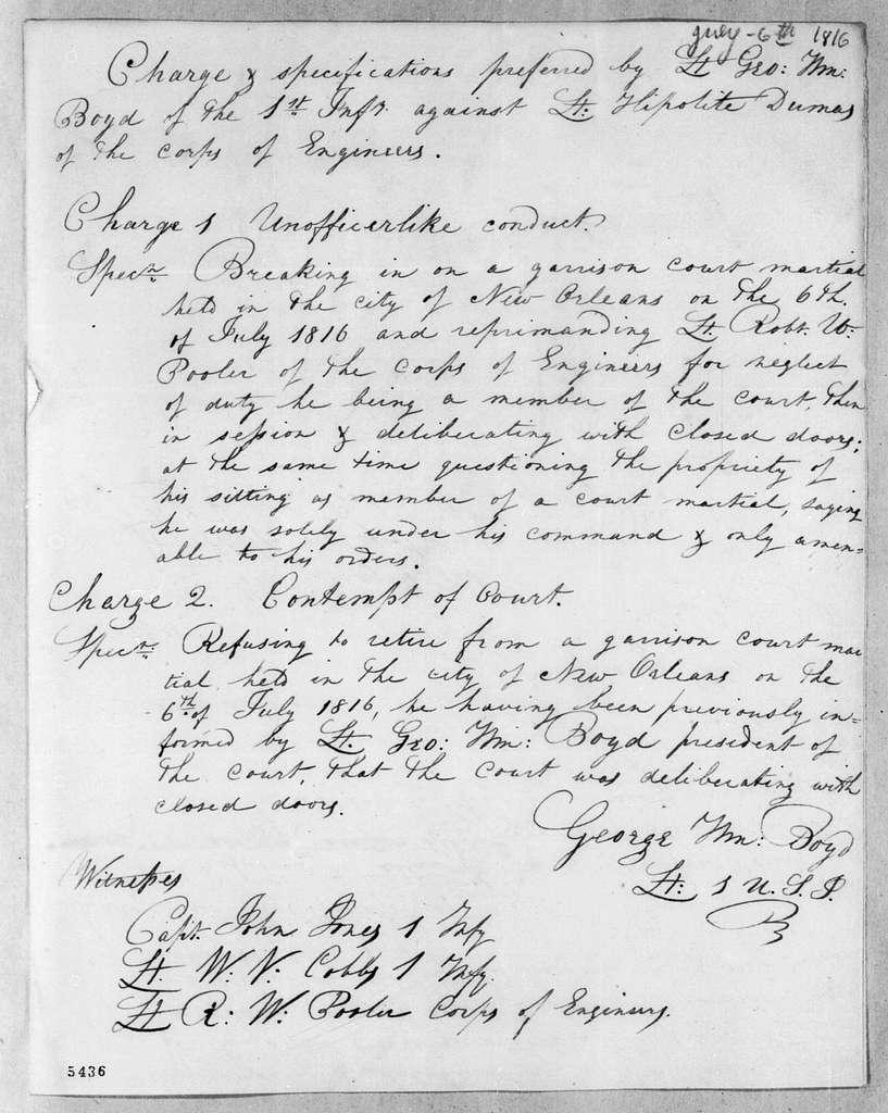George William Boyd to William O. Winston, July 6, 1816