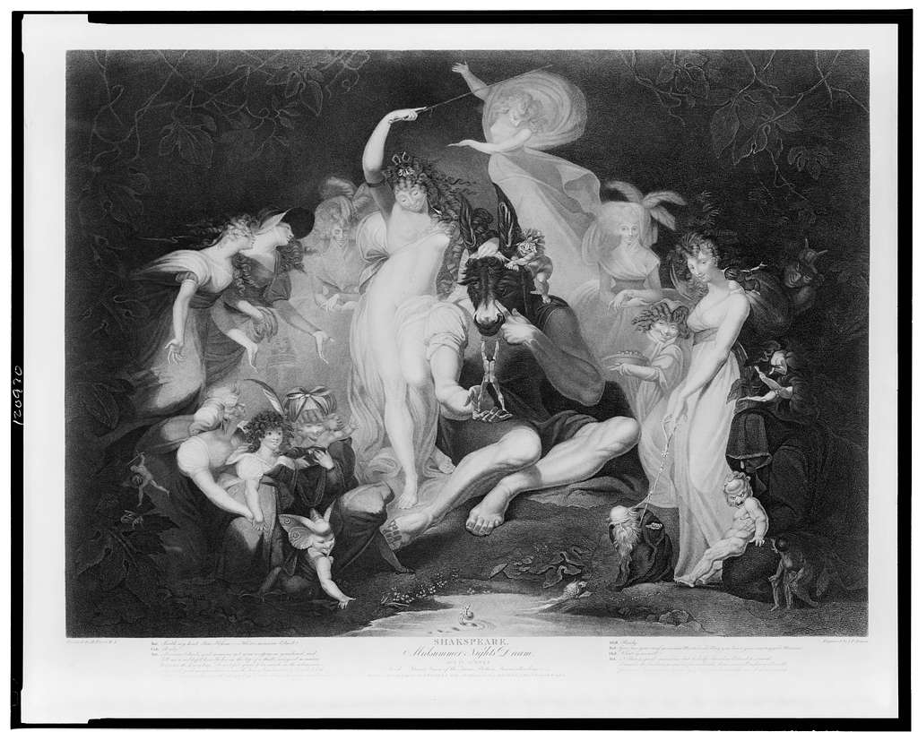 Shakspeare [sic] - Midsummer Nights Dream Act IV Scene I--A wood - Titiania [i.e., Titania], queen of the fairies, Bottom, fairies attending & etc. / / painted by H. Fuseli, R.A. ; engraved by I.P. Simon.