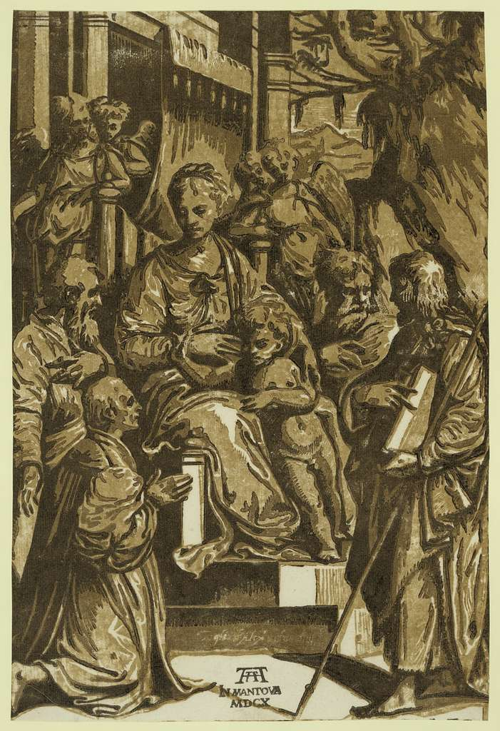The Virgin and child surrounded by saints and kneeling donor / AA, in Mantova, MDCX.