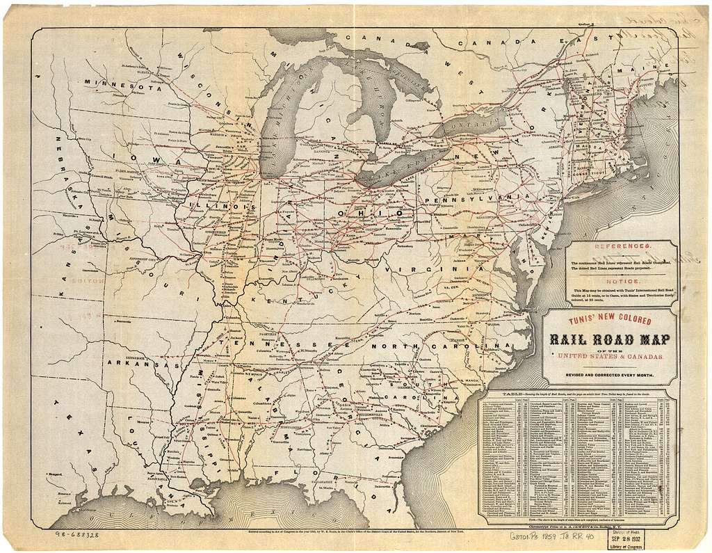 Tunis new colored rail road map of the United States & Canadas; revised and corrected every month.