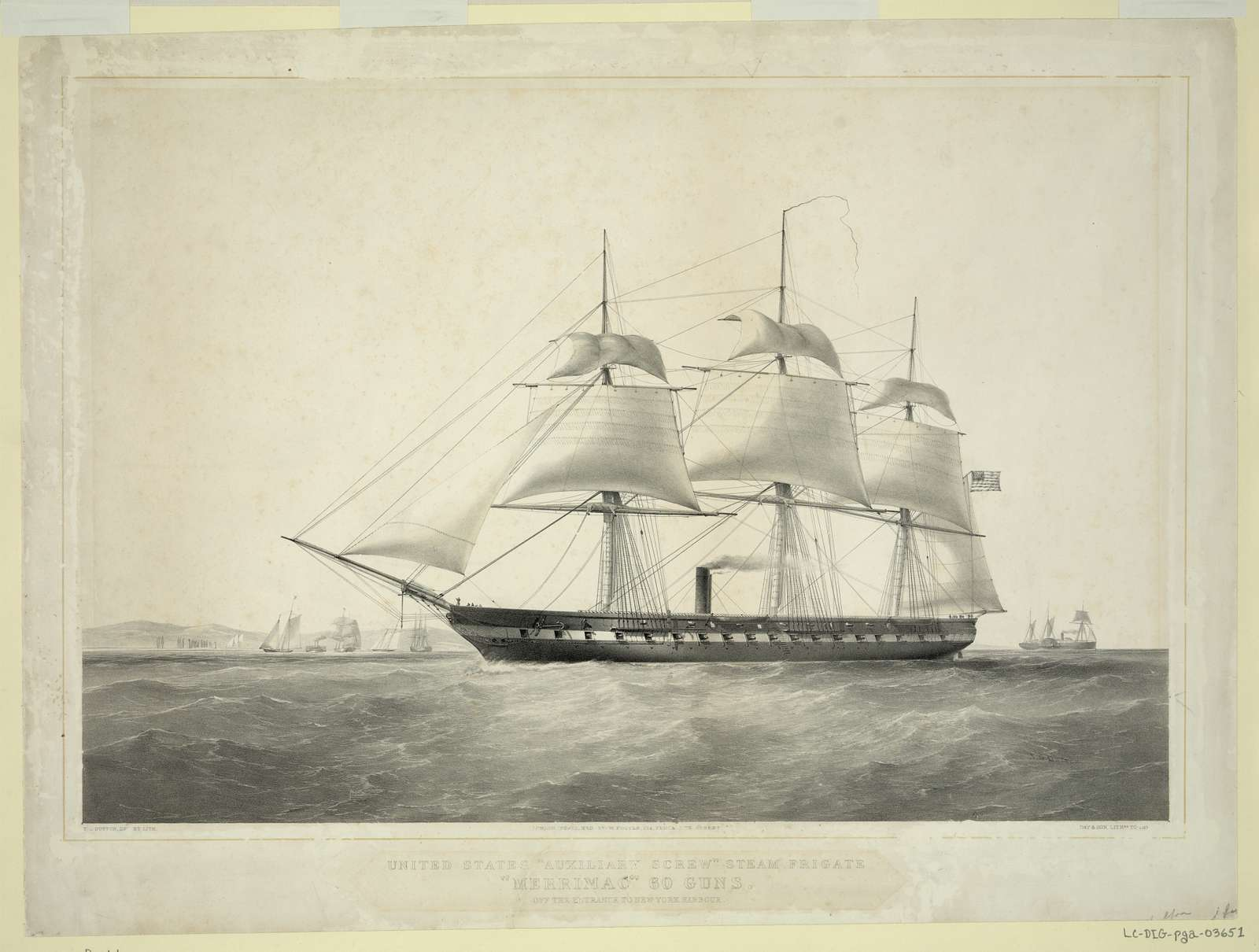 """United States """"Auxiliary Screw"""" steam frigate """"Merrimac"""" 60 guns. Off the entrance to New York harbour / T.G. Dutton, del et lith. ; Day & Son, Lithrs. to [the Queen]."""