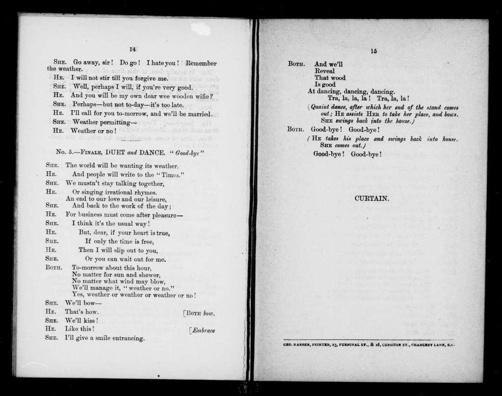 Weather or no. Libretto. English