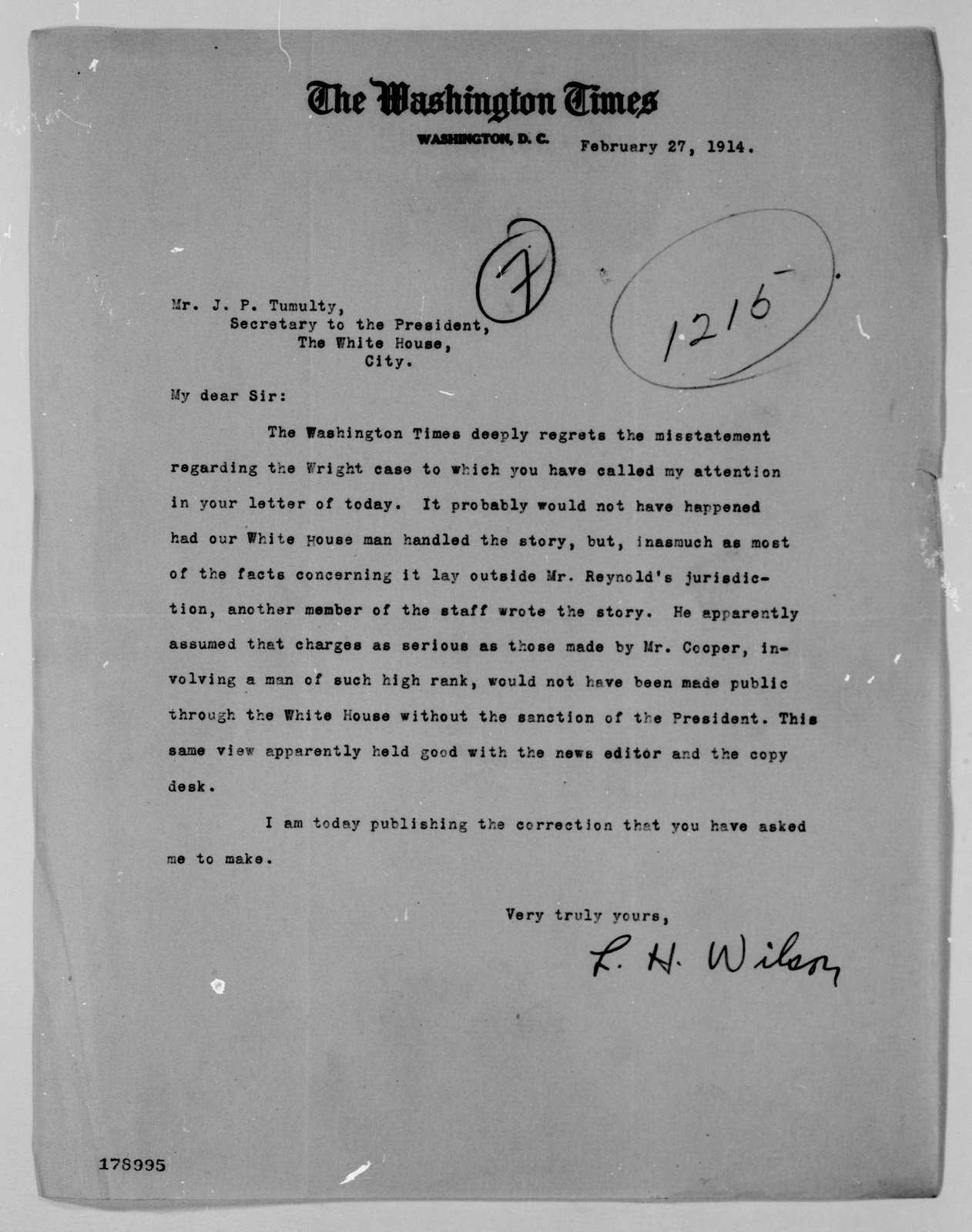 Woodrow Wilson Papers: Series 4: Executive Office File, 1912-1921; 1215, 1914, Feb. 27-1915